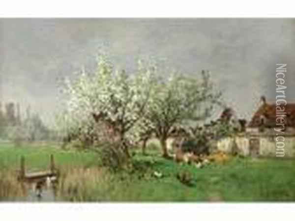 Le Printemps A Barbizon Oil Painting - Alexandre Defaux