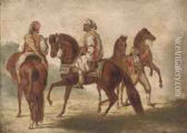 Arab Warriors On Horseback Oil Painting - Eugene Delacroix