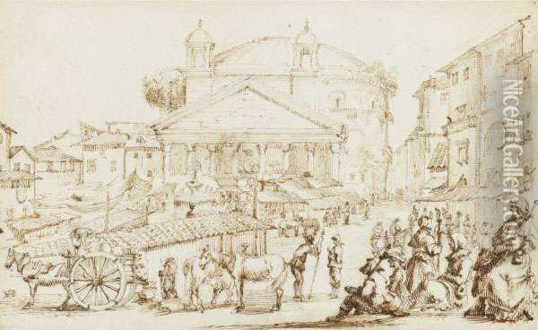 A Market Outside The Pantheon, Rome Oil Painting - Stefano della Bella