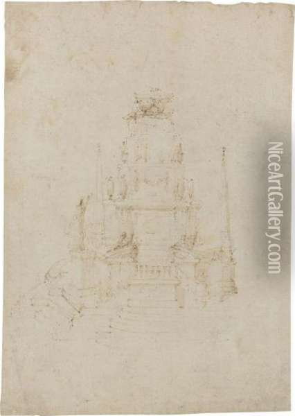 A Design For A Free-standing Funerary Monument Oil Painting - Stefano della Bella