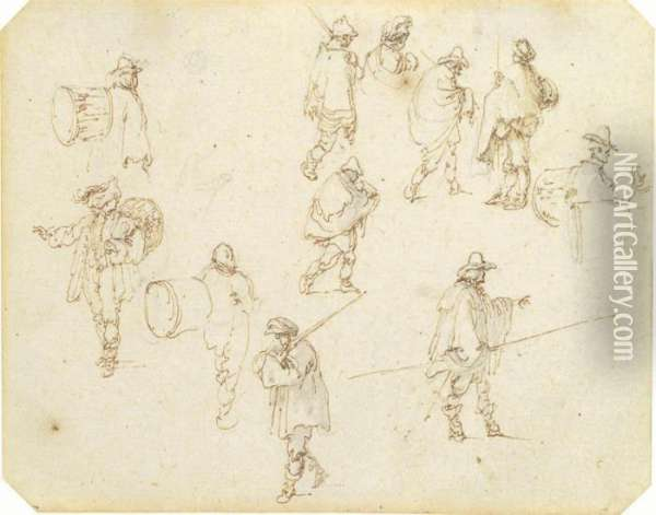 Studies Of Drummers, Peasants And Soldiers With Swords Andlances Oil Painting - Stefano della Bella
