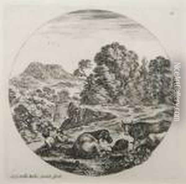 Pastoral Scene, Together With An Engraving After Cornelis Bos Oil Painting - Stefano della Bella