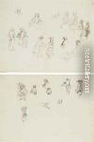 Five Leaves Of Figure Studies From An Album Oil Painting - Stefano della Bella