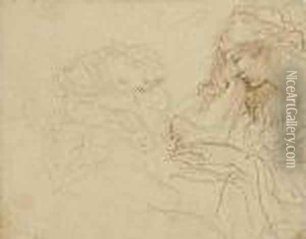 A Woman Reading, Half Length, In  Profile To The Left, And A Motherand Child (recto); A Boy Seen From  Behind, Bust Length, Resting Hishead On His Hand (verso) Oil Painting - Stefano della Bella