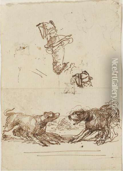 Two Barking Hounds With Studies  Of A Leg And A Foot In A Stirrup(recto); A Caricature, A Head And A Dog  (verso) Oil Painting - Stefano della Bella