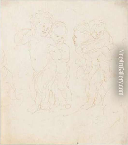 Recto: Putti At Play Verso: Caricature Of A Man Oil Painting - Stefano della Bella