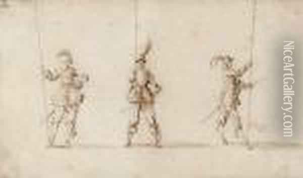 Three Soldiers, After Jacques Callot Oil Painting - Stefano della Bella