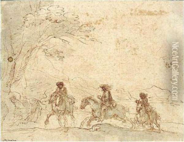 Landscape With Horsemen And A Study Of A Head. Oil Painting - Stefano della Bella