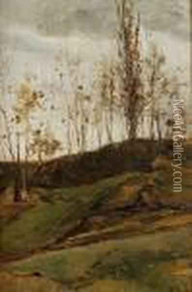 Study Of Trees Oil Painting - Lorenzo Delleani
