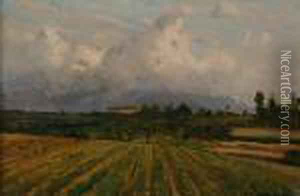 Landscape With Clouds Oil Painting - Lorenzo Delleani