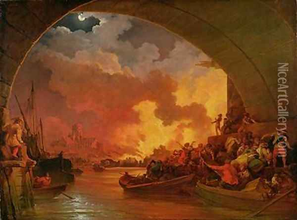 The Great Fire of London 1797 Oil Painting - Philip Jacques de Loutherbourg