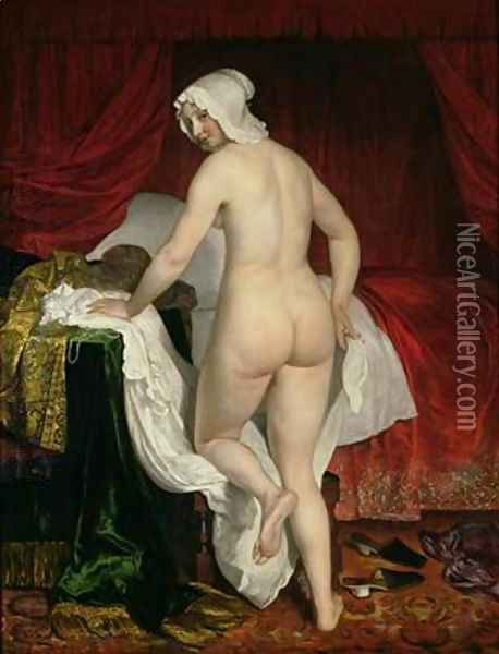 Young Woman Going to Bed 1650 Oil Painting - Jacob van Loo
