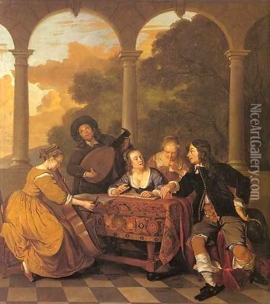 Musical Party on a Terrace 1650 Oil Painting - Jacob van Loo