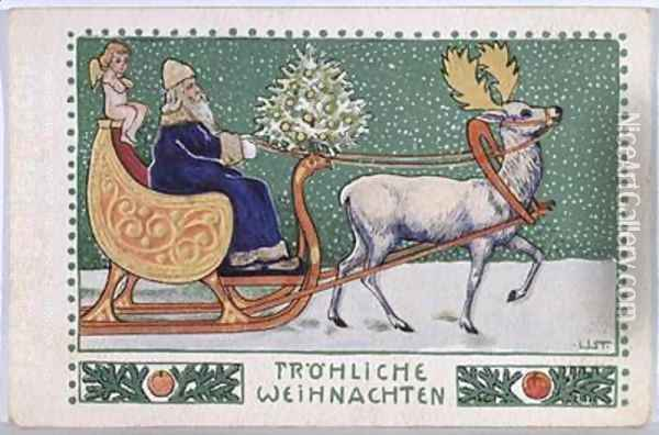 Postcard depicting Father Christmas on his sleigh Oil Painting - Wilhelm List