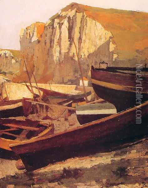 Barques au pied d'une falaise en Normandie (Boats at the foot of a cliff in Normandy) Oil Painting - Jean-Paul Laurens