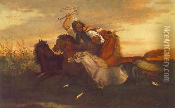 Galloping Outlaw Oil Painting - Karoly Lotz