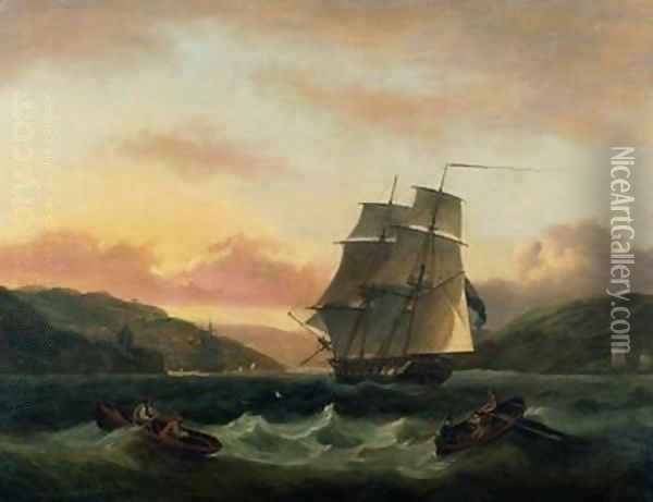 A Brigantine in Full Sail in Dartmouth Harbour Oil Painting - Thomas Luny