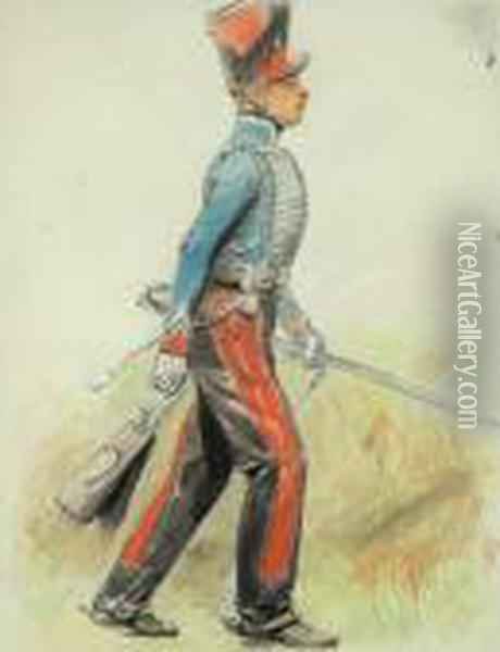 Study Of A Soldier Oil Painting - Jean Baptiste Edouard Detaille