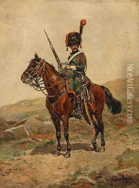 A Mounted Chasseur Of The Imperial Guard Oil Painting - Jean Baptiste Edouard Detaille