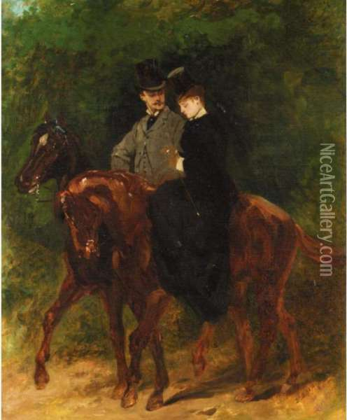 A Couple Out Riding Oil Painting - Jean Baptiste Edouard Detaille