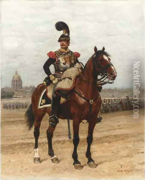 A Trooper Of The Cuirassiers With Les Invalides Beyond Oil Painting - Jean Baptiste Edouard Detaille