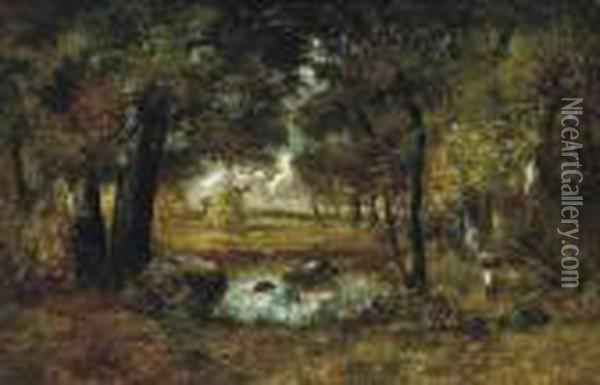 A Pool In The Forest Of Fontainbleau Oil Painting - Narcisse-Virgile D Az De La Pena