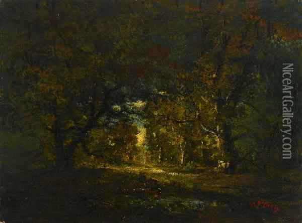 Forest Interior Oil Painting - Narcisse-Virgile D Az De La Pena