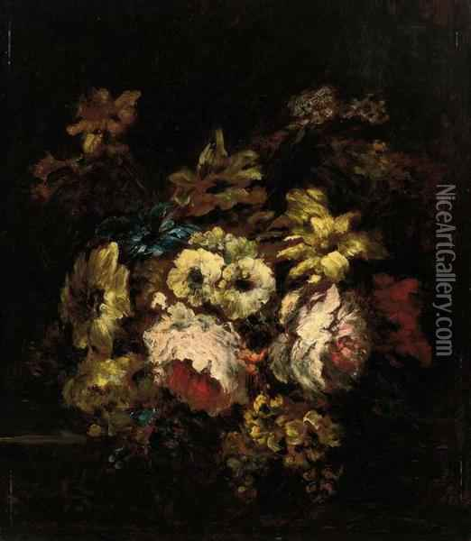 Summer Blooms Oil Painting - Narcisse-Virgile D Az De La Pena