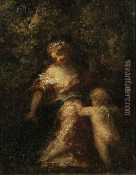 Woman With Cupid In A Woodland Clearing Oil Painting - Narcisse-Virgile D Az De La Pena