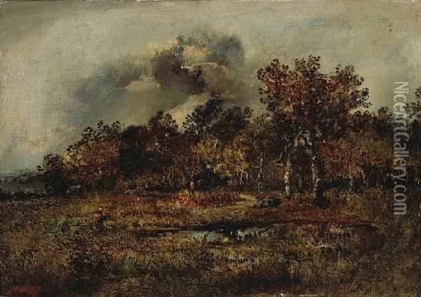 A Wooded Landscape With A Figure Oil Painting - Narcisse-Virgile D Az De La Pena
