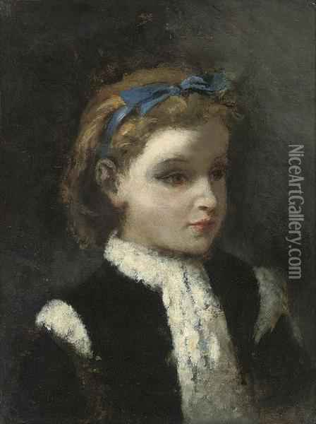 Portrait Of Marie, The Artist's Daughter Oil Painting - Narcisse-Virgile D Az De La Pena