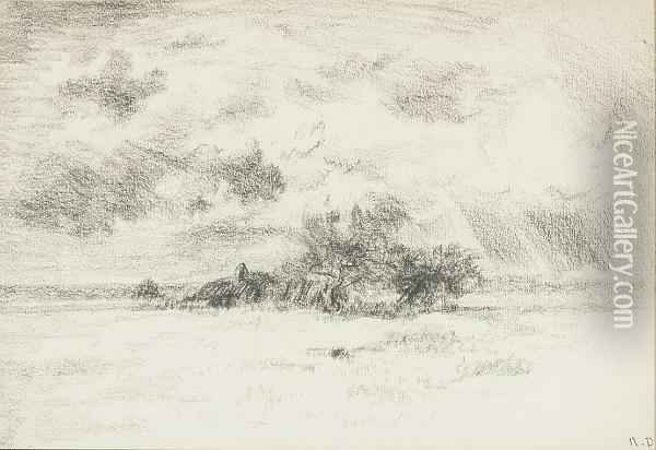 View Of A Farm House And An Orchard From An Open Field In A Storm Oil Painting - Narcisse-Virgile D Az De La Pena