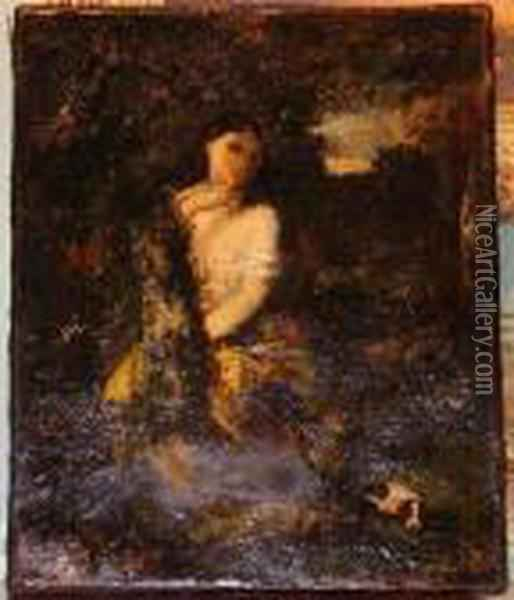 Girl W/ Dog In Landscape Oil Painting - Narcisse-Virgile D Az De La Pena