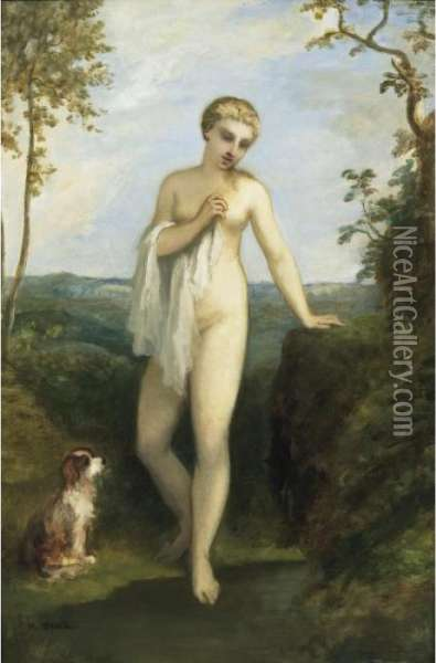 Bather Oil Painting - Narcisse-Virgile D Az De La Pena