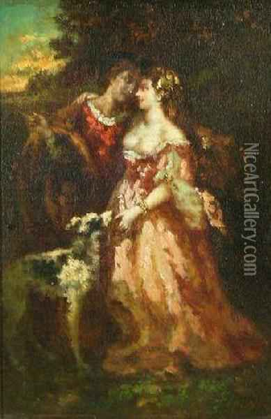 Young Lovers In A Park Oil Painting - Narcisse-Virgile D Az De La Pena