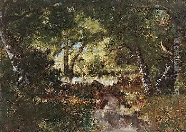 A Pool In A Woodland Clearing Oil Painting - Narcisse-Virgile D Az De La Pena