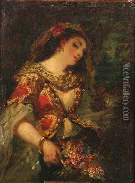 Jeune Fille En Costume Oil Painting - Narcisse-Virgile D Az De La Pena