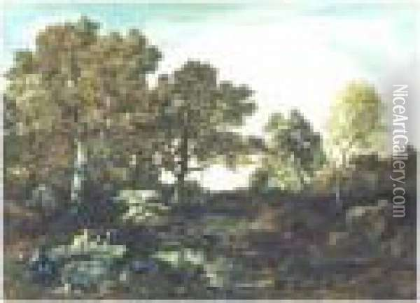 Wooded Landscape Oil Painting - Narcisse-Virgile D Az De La Pena