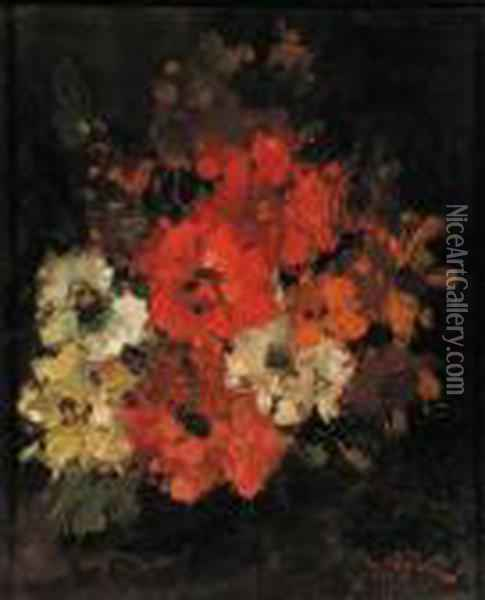 A Bouquet Of Flowers Oil Painting - Narcisse-Virgile D Az De La Pena