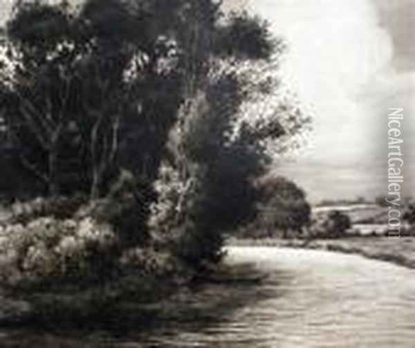The Bend In The River Oil Painting - Herbert Thomas Dicksee