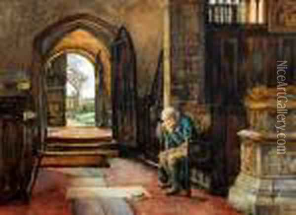 Memories - An Old Man Seated In A Church Oil Painting - Herbert Thomas Dicksee