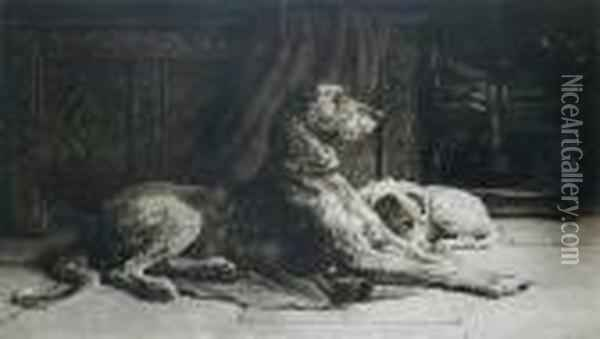 Patience, (deerhound) Oil Painting - Herbert Thomas Dicksee