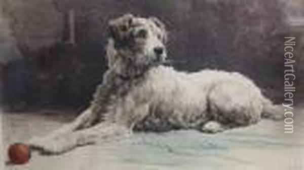 Hand Coloured Etching Of A Dog Oil Painting - Herbert Thomas Dicksee
