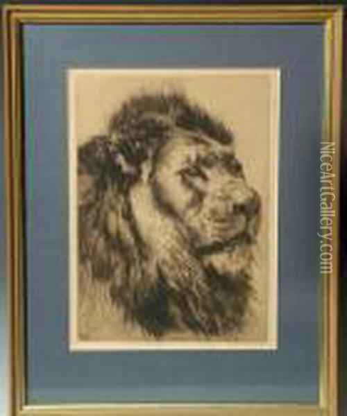 Portrait Of A Lion Oil Painting - Herbert Thomas Dicksee
