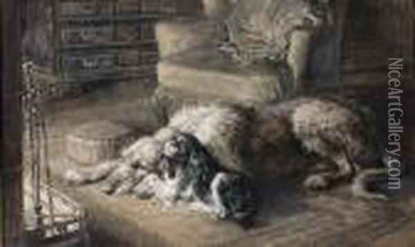 Adeer Hound And King Charles Spaniel By A Fireside Oil Painting - Herbert Thomas Dicksee