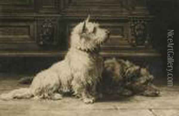 A Study Of Twoterriers Published By Frost & Reed 1926 Oil Painting - Herbert Thomas Dicksee