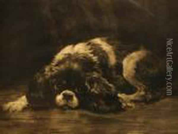 Hard Times - Study Of A Cavalier King Charles Oil Painting - Herbert Thomas Dicksee