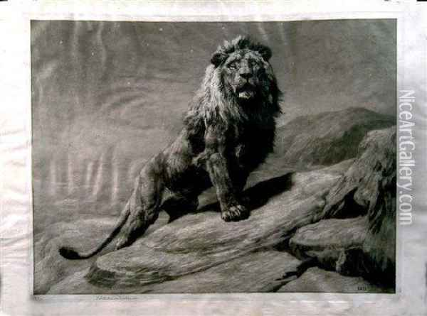 A Lion Perched Upon A Rock Oil Painting - Herbert Thomas Dicksee