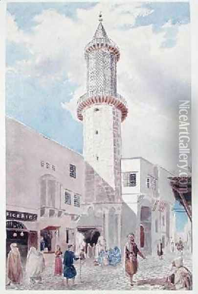 The Minaret of the Mosque on Rue de Chartres and Rue Bab-Azoun Oil Painting - Theodore Leblanc