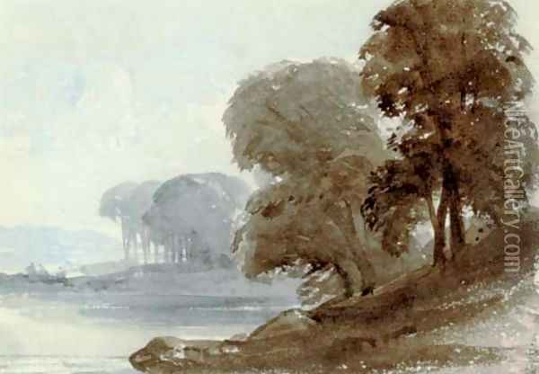 Trees on the water's edge Oil Painting - William Leighton Leitch